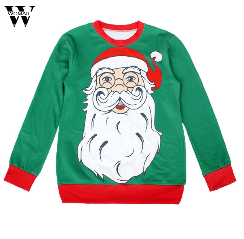 2017 # Women Casual Shirt Printed Christmas Clothes Sweatshirt Jumper Polyester Pullover Long Sleeve Tops #23