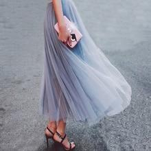 Uppin сезон: весна–лето Винтаж юбки женские эластичные Высокая Талия Тюль Юбка из сетчатой ткани длинные плиссированные юбка-пачка женский Юп Longue