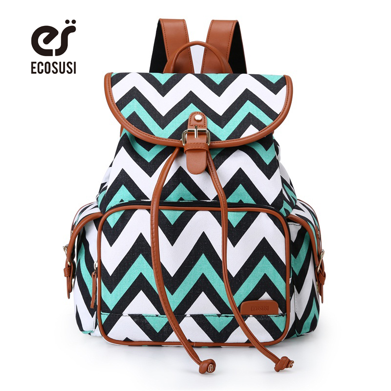 ECOSUSI New Women Backpack Canvas School Bag For Teenagers Girls Printing Travel Rucksack Female Large Space Backpack Sac A Dos british style printing vintage backpack female cartoon school bag for teenagers high quality pu leather backpack sac a dos femme