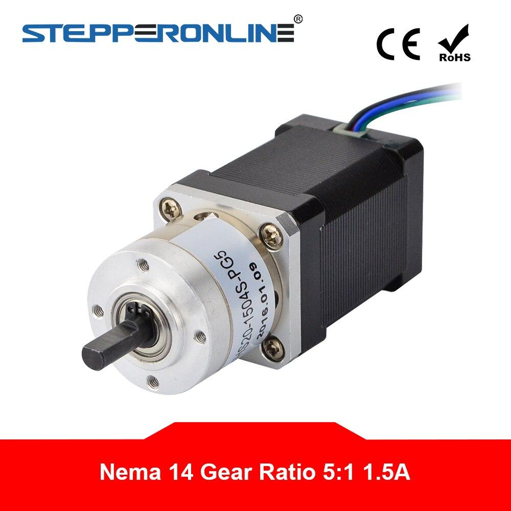 5:1 Planetary Gearbox Nema 14 Stepper Motor L=51mm Nema14 Geared Step Motor 1.5A for CNC Robotic