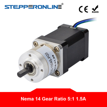 5:1 Planetary Gearbox Nema 14 Stepper Motor L=51mm Nema14 Geared Step Motor 1.5A for CNC Robotic image
