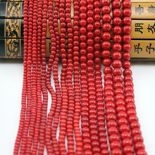 1strand/lot Simulated Red Coral Beads Round Loose 4mm 6mm 8mm 10mm For DIY Bracelet Necklace Jewelry Making Free Shipping