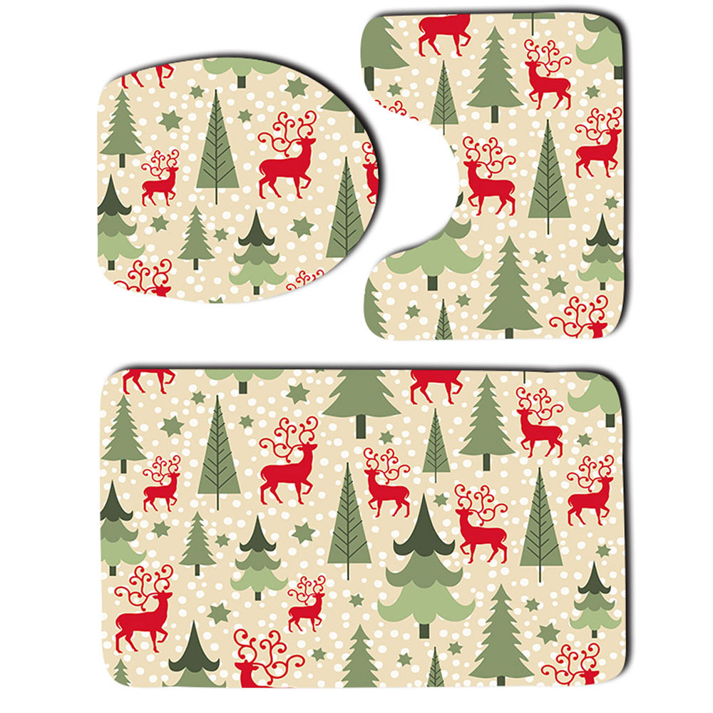 3Pcs/Set Christmas Bathroom Mat Toilet Cover Rug Geometric Pattern Decor
