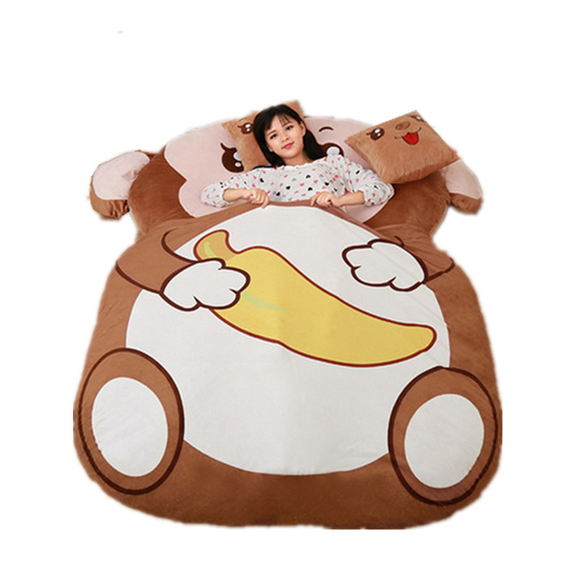 Fancytrader Cartoon Animal Monkey Plush Tatami Giant Stuffed Soft Beanbag Bed Carpet Mat Sofa Double Single Bed Available