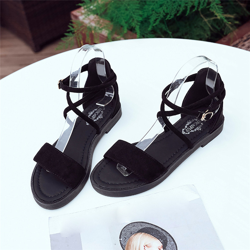 Summer Shoes Women Flat Sandals Cross Straps Open Toe Buckle Low Heel Sandals Wedge Fashion Shoes Women Size35-40 Zapatos lucyever women vintage square toe flat summer sandals flock buckle casual shoes comfort ankle strap women footwear mujer zapatos