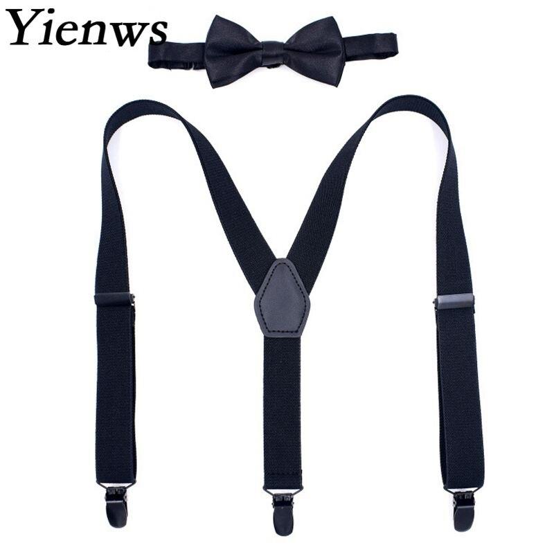 Yienws Baby Boys Suspenders New Designer Bow Tie Suspenders for Children Kids 3 Clip Y-sharp Bowtie Braces Girls YiA085