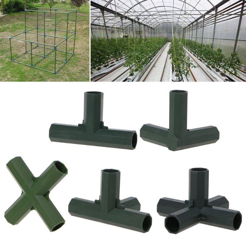 3PCS Greenhouse Frame Furniture Connectors 16MM PVC Fitting 5 Types Stable Support Heavy Duty Greenhouse Frame Building Connector Inner diameter 16mm//0.63in