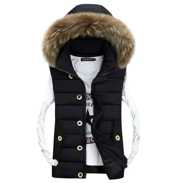 41be743f2 2017 Autumn New Casual Fur Collar Winter Jacket Coat Good Quality Hooded  Man Gilet-in Vests & Waistcoats from Men's Clothing on Aliexpress.com |  Alibaba ...