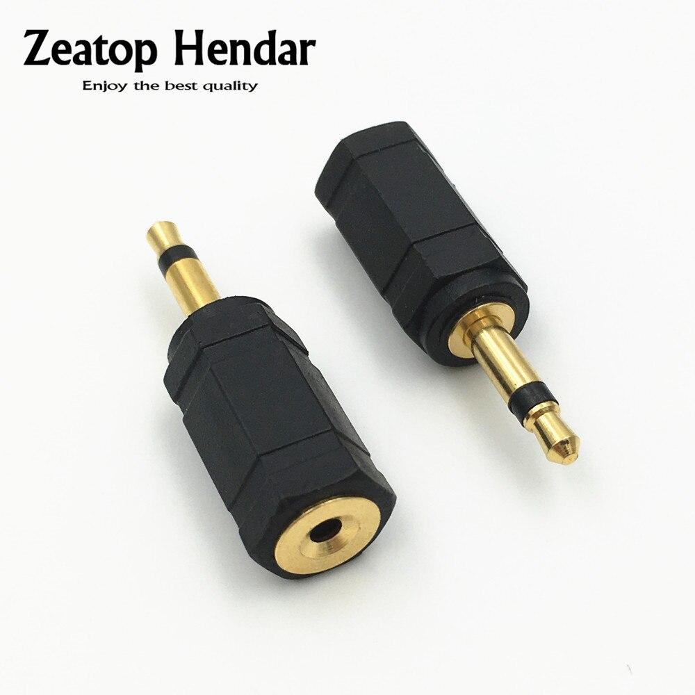 2 pces ouro 3.5 macho mono macho plug para 2.5mm jack fêmea conversor de áudio adaptador conector