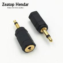 2 pces banhado a ouro 3.5 mono macho plug para 2.5mm/3.5mm fêmea estéreo jack conversor de áudio adaptador conector