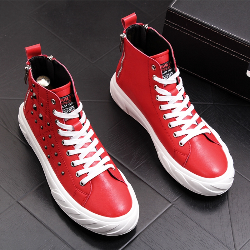 CuddlyIIPanda 2019 Men Fashion Ankle Martin Boots Male Rivets Casual Punk Shoes High Top Luxury Hip Hop Sneakers Chaussure Homme    2