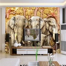 Modern Fashion Custom 3d Wallpaper Stereoscopic Home Decorating Interior Walls  Mural Vintage Animal India Elephant Wallpaper