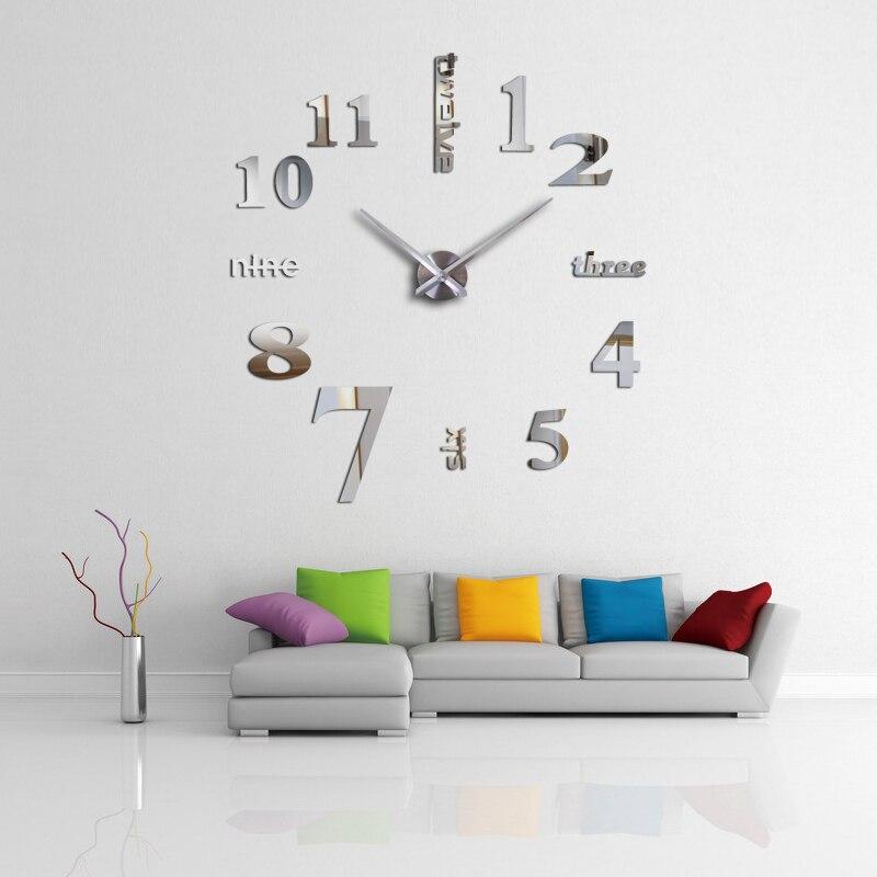 Abordable bricolage effet miroir décoration de la maison stickers muraux bref style nature morte quartz salon abordable horloge murale