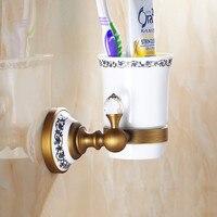 Vidric Toothbrush Holders Crystal Vintage , Chrome Brass Holder Ceramics Wall mounted Bathroom Fitting Single Cup Holders black