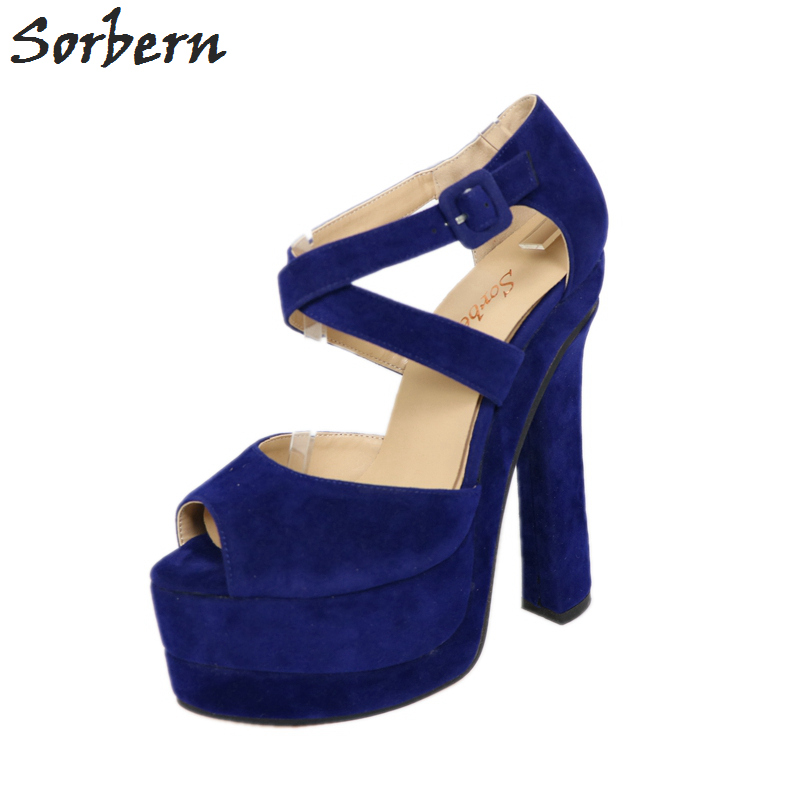 1458b37b7b1 Sorbern Royal Blue Sandal Women Square Chunky Cross Straps Platform Peep  Toe High Heels Sandalia Feminina Block Heel On Sale-in High Heels from Shoes  on ...