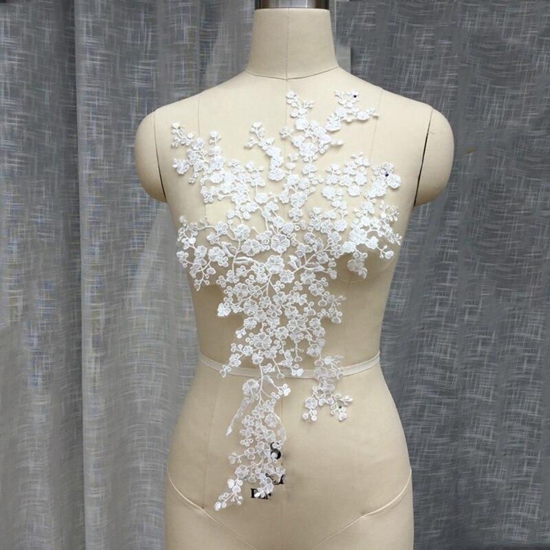 3D Robe de mariée dentelle Applique Perles Broderie Cordon Robe de Mariage À faire soi-même Trim 1PC