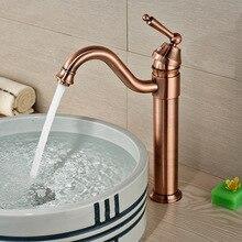 Antique Bronze Deck Mount Countertop Hot Cold Bathroom Vanity Sink Faucet Centerset Single Handle Basin Mixer