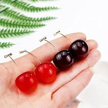 Cute Cherry Strawberry Pendant Earrings Hanging Black Red Resin Cherry Jewelry Geometric Earrings 2019 women's earring W398-W403 cherry adair black magic