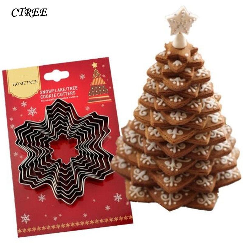 CTREE 9 unids/set 3D molde de la galleta de Metal de acero inoxidable galletas, árbol de Navidad, galletas cortadores de cocina para hornear suministros C247