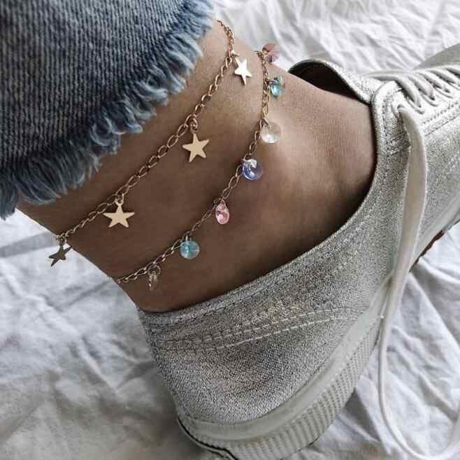 สไตล์ Boho สร้อยข้อเท้าแฟชั่นหลายห่วงโซ่ 2019 คริสตัลหินข้อเท้าสร้อยข้อมือชายหาดอุปกรณ์เสริมของขวัญ