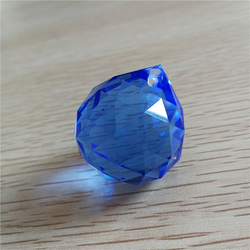 Sapphire/blue 100units 30mm Glass Faceted Ball Hanging Pedants For Chandeliers Crystal D ...