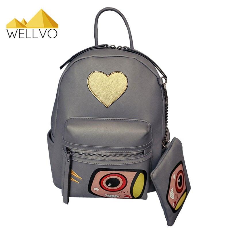 2 PCS Heart Shape Backpack Camera Women PU Leather Backpacks with small Purse For Teenage Girls