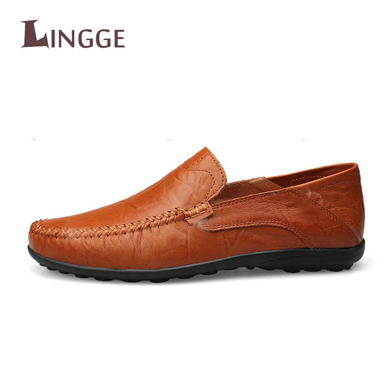 Brand Plus Size 45 Men Casual Leather Shoes Leather Men's Flats Spring Autumn Fashion Luxury Classic Shoes