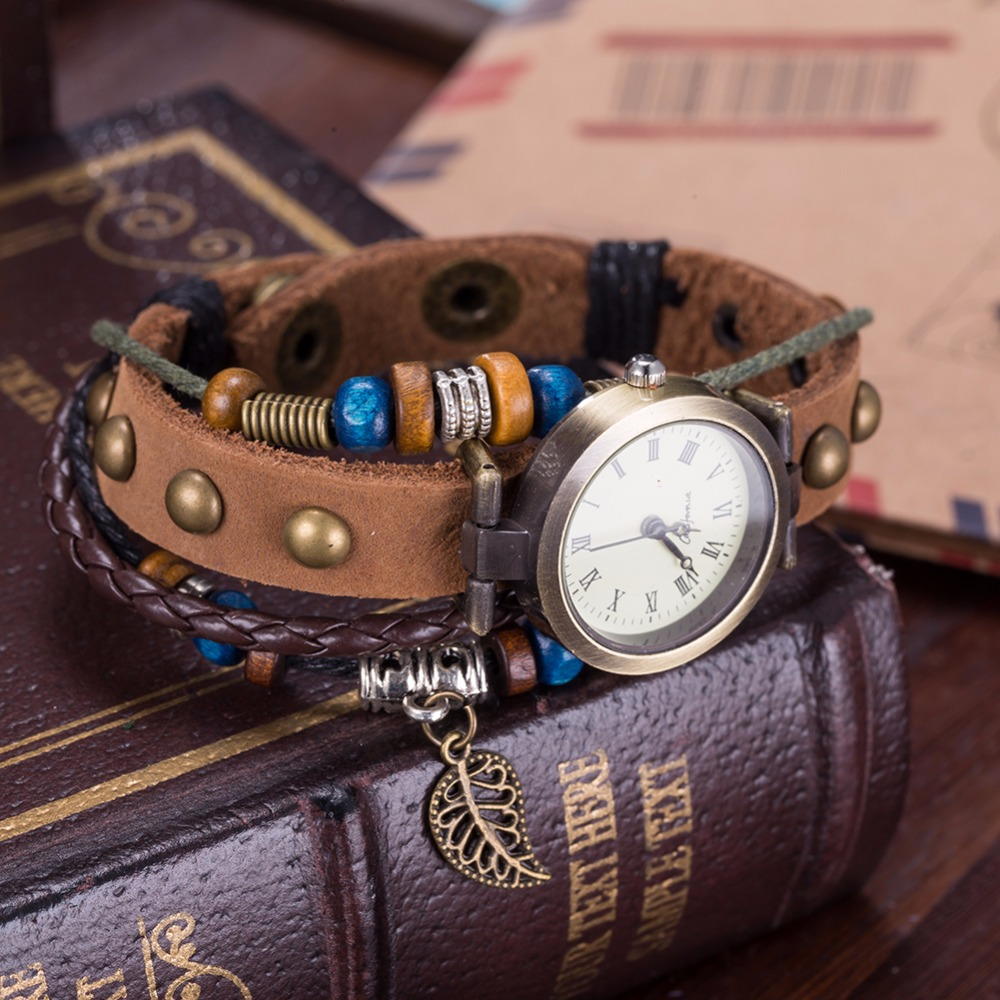 горячие кожаный браслет-часы женские женева очаровательные