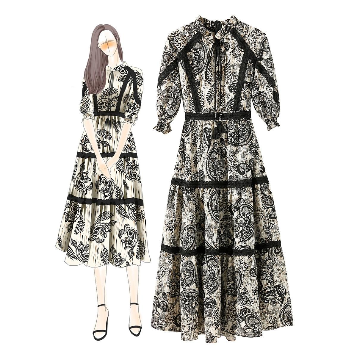 Boutique été plage dentelle élégante impression robe mode Vintage Style femmes Sexy Boho Maxi robe pour vêtements de vacances