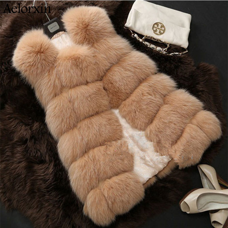 Aelorxin Women Faux Fur Coat Jacket Winter Female Fur Vest With A Pocket High-Grade Leisure Women Fox Coat Plus Size:S-XXXXL