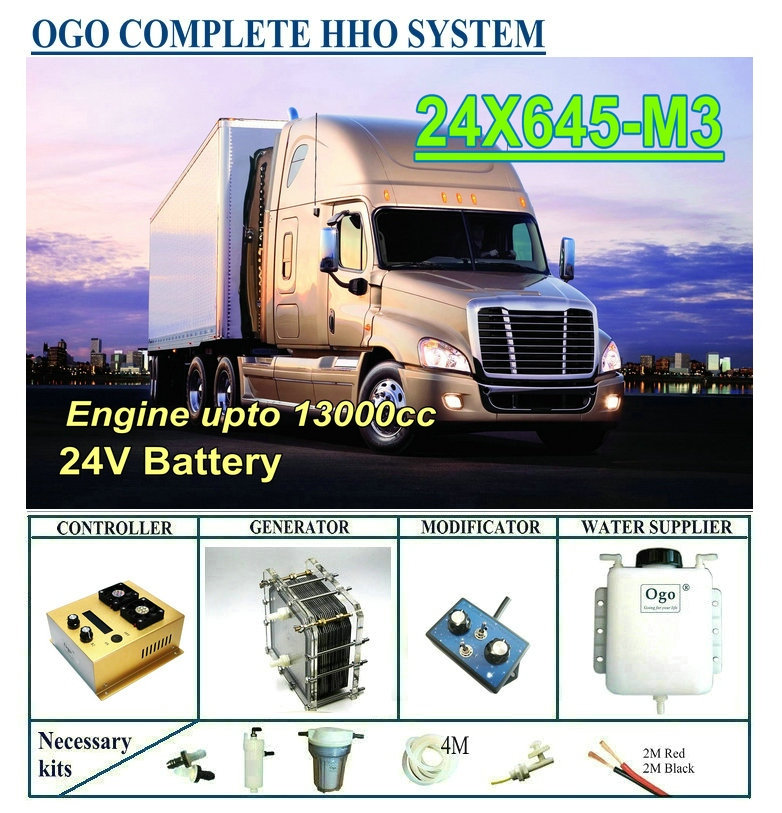 OGO Complete HHO system X645 M3 intelligent PWM controller CE FCC MAF MAP enhancer upto 13000CC