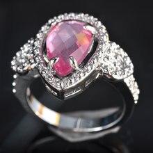 Горячая Роскошная пара влюбленных подарок розовый циркон посеребренное