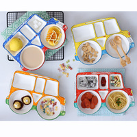 1pcs Creative Car Design Cartoon Ceramic Kids Children Baby Dinner Dish Snacks Plate Divided Lattice Dinnerware Tableware Gift
