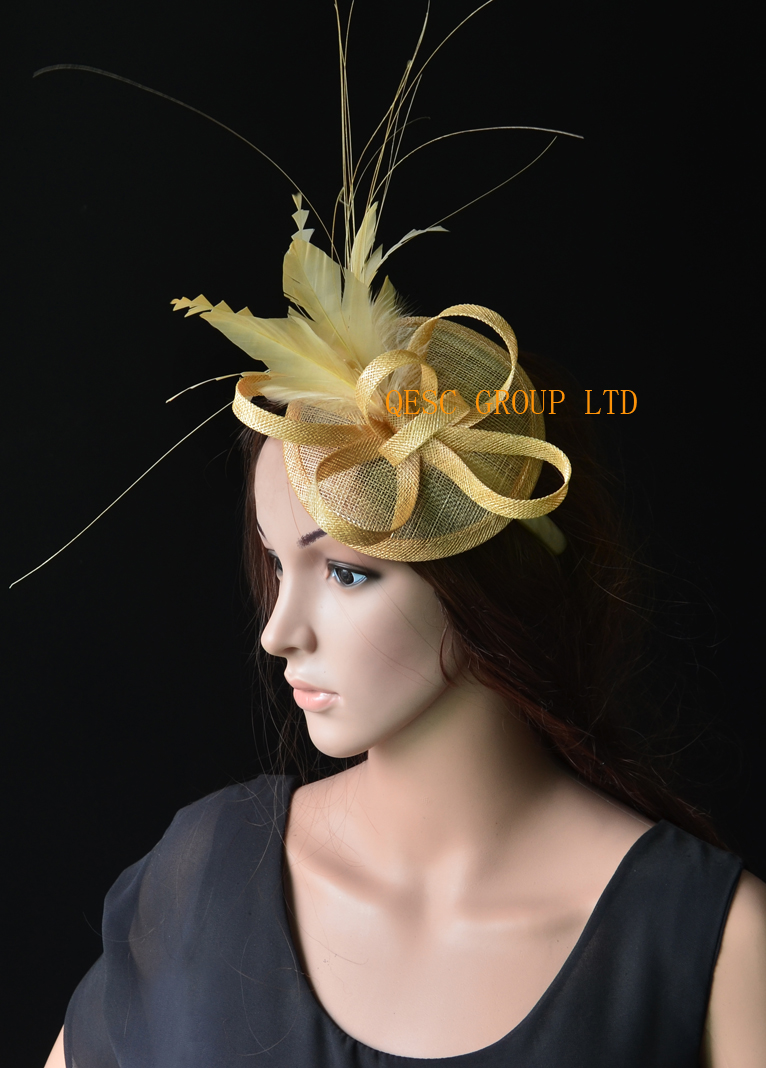 New 20 Colours Champagne Gold Feather Fascinator Sinamay Hat Wedding For Ascot Races Kentucky Derby Tea Party Free Shipping On Aliexpress Alibaba