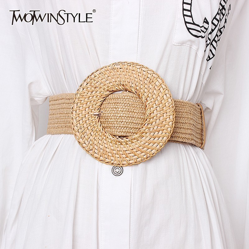 TWOTWINSTYLE Elastic Waist Belt Female Striped Belts For Women Vintage Dresses Accessories Fashion New Tide 2019 Summer