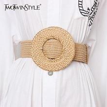 TWOTWINSTYLE Elastic Waist Belt Female Striped Belts For Wom