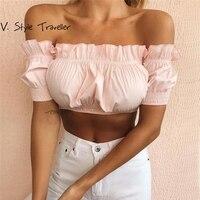 Rose Encolure Blouse Femmes Noir Blanc Crop Top Casual blogueur Recadrée Boho Sexy Station Porter Haute Mode Chic Volant chemise