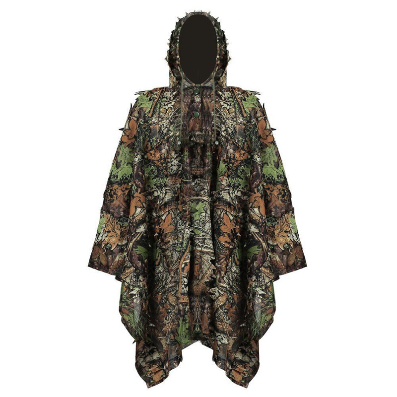 Military Camouflage Leaf Hunting Poncho <font><b>Jungle</b></font> Woodland Breathable Ghillie Suit for PUBG Player Hunter Camping Hunting Clothing image