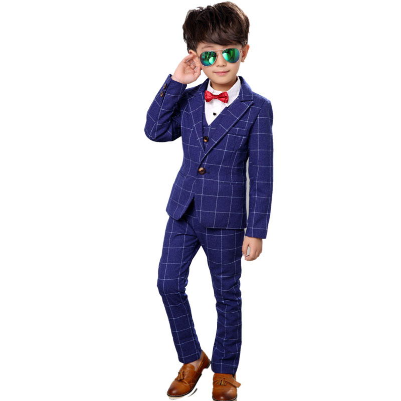 2-13Y Boy Formal Suit 4PCS/SET Tie+vest +jacket+pant Plaid Gentlemen Boys Suits Weddings Kids Prom Suits Boy Tuexdo Clothes Set kids spring formal clothes set children boys three piece suit cool pant vest coat performance wear western style