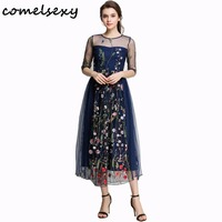 2017 Spring Summer New Embroidery Dresses Beach Mesh Women Black Floral Sexy Fashion Vintage Party Long