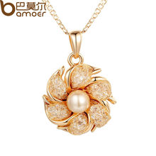 BAMOER Champagne Gold Color Necklaces Pendants Simulated Pearl AAA Cubic Zircon For Women Christmas Gift JSN090
