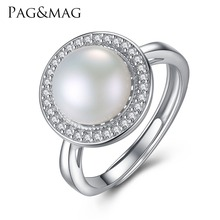 PAG&MAG Brand Classic Round Disk 925 Sterling Silver Jewelry One Big 9-9.5mm Freshwater Natural Pearl Women Wedding Ring Hot001