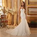Magnífico vestido de novia con una larga amor del tren del hombro Organza de la sirena vestidos 2016 Appliques del cordón