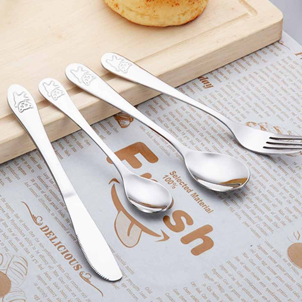 4pcs/set Baby Dishes Stainless Steel Teaspoon Spoon Fork Knife Utensils Set Baby Kids Learning Eating Habit Children Tableware