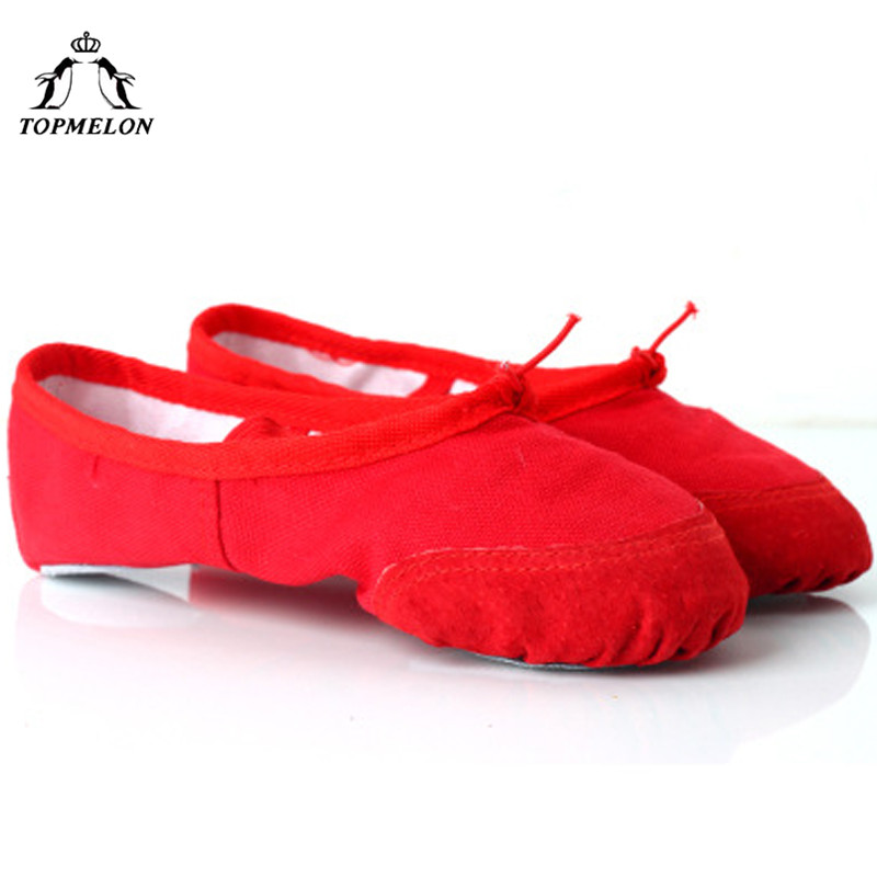 TOPMELON Cotton Ballet Shoes Dancing Feet Wear for Girls Adult 26-37 Size Professional Shoes for Women Red Black Pink