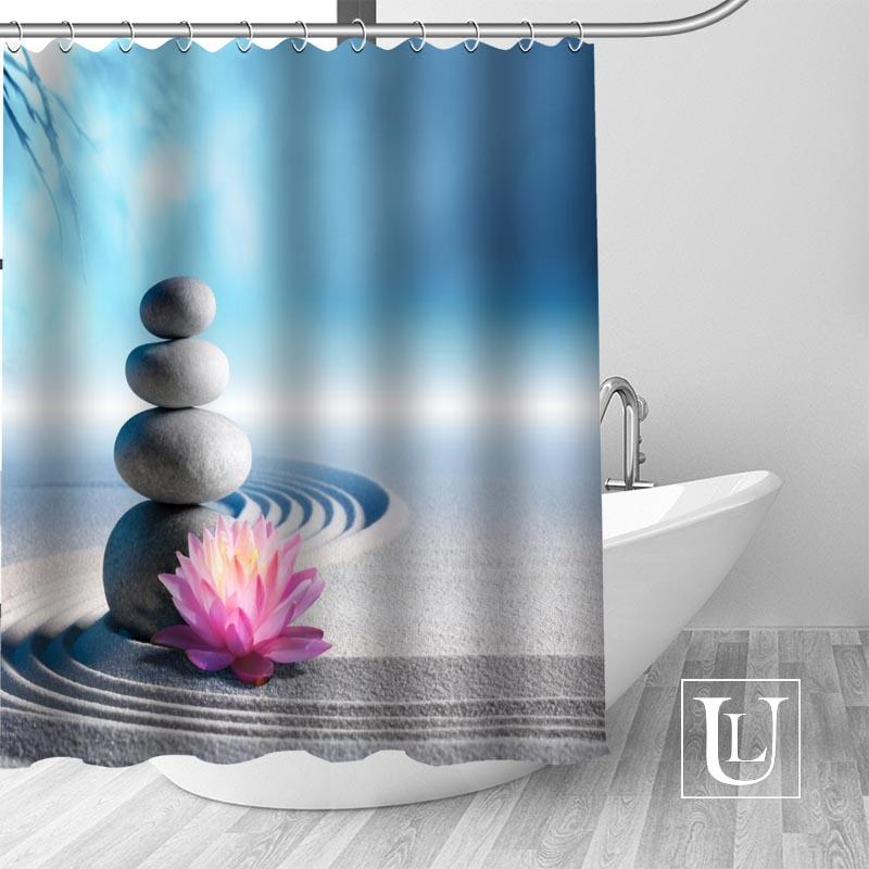 Custom Zen Stone Curtain Fabric Modern Shower Curtain bathroom beautiful Curtains Bath decor Polyester Cloth Waterproof