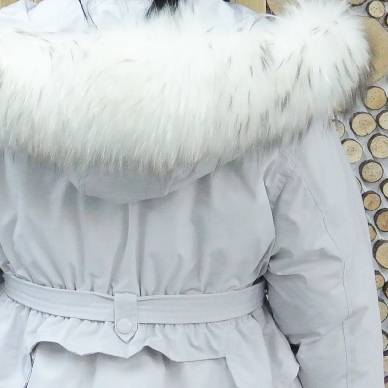 Women Double Sided Down medium Long Jacket with Raccoon fur hat Winter White Duck Down Coat waist tight Warm Parka Snow Outwear in Down Coats from Women 39 s Clothing