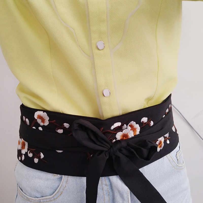 8e7151bfc66 ... Shirt girdle corset strap fashion wild black embroidery new belt female  decorative dress waist bow elastic