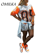 OMILKA 2018 Summer Women Half Sleeve O Neck Letter Printed Sequined T Shirt Dress Casual Loose Hip Hop Harajuku Club Mini Dress casual loose bag hip long section t shirt women 2019 new summer short sleeve o neck ladies night club female mini dress t shirt