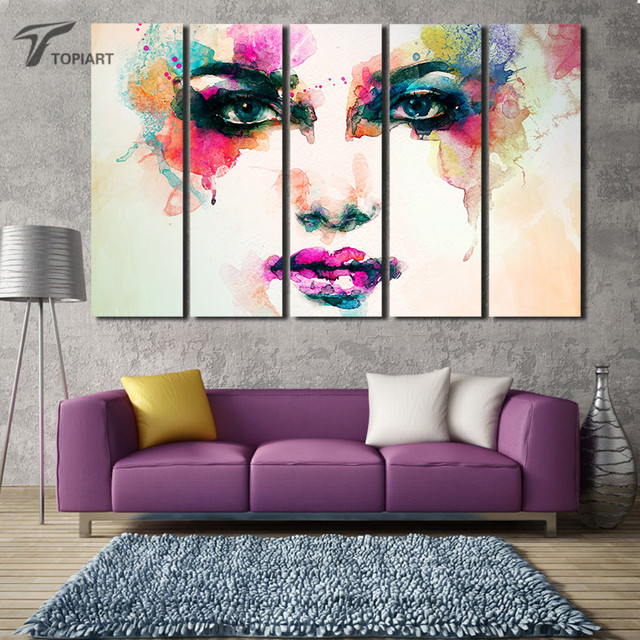 5 panel wall painting extra large figure pop art canvas print abstract girl features watercolor paint